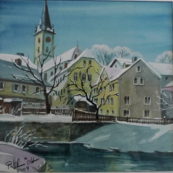 Peter Schmidt Aquarell St. Gumbertus Schwarzenbach