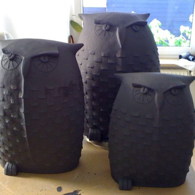 Garten Eule mal 3 und 2 Keramik Vögel