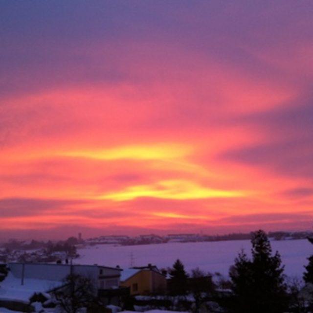 Sonnenaufgang über Hof am 23.12.2010