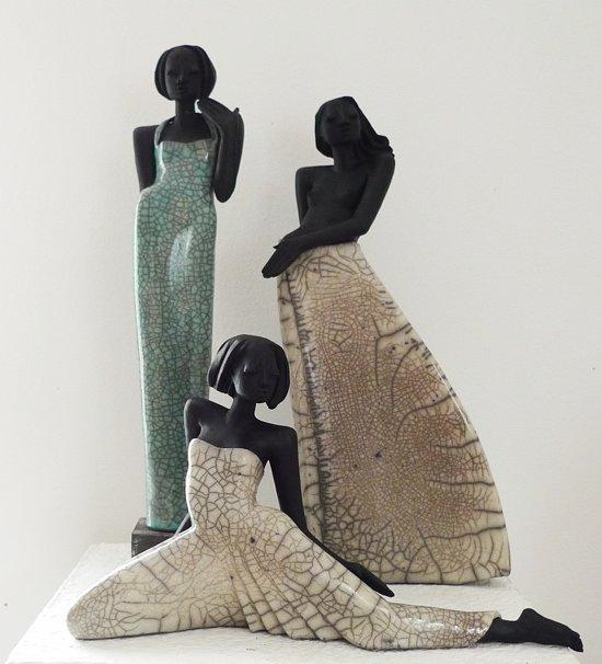 Raku Figuren: Shari, Mary und Venus - Keramik Kunst