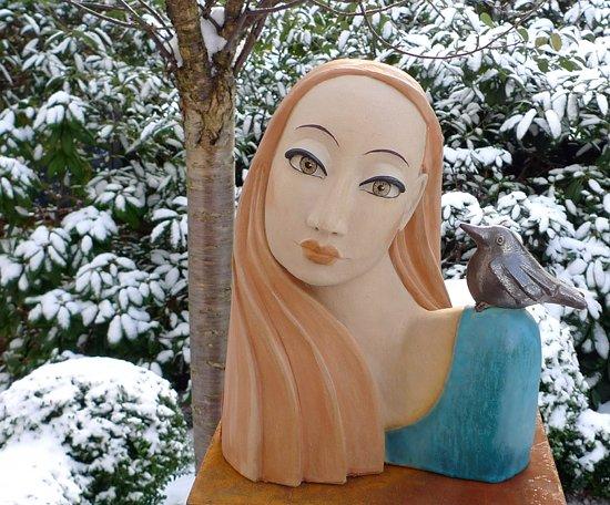 Jenny - Gartenkeramik Büste