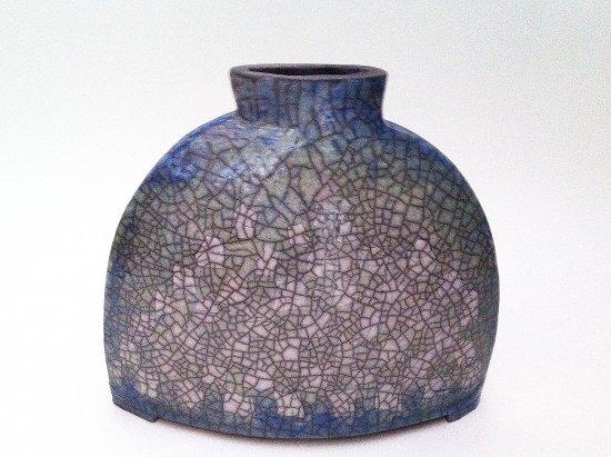 Raku Vase halbrund mit Porzellan-Karo