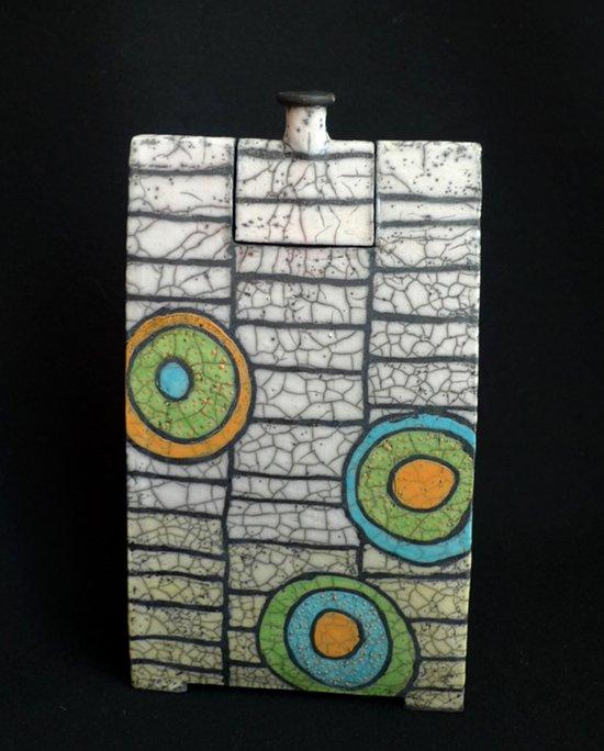 Raku Keramik Vase mit Deckel (oder als Dose)