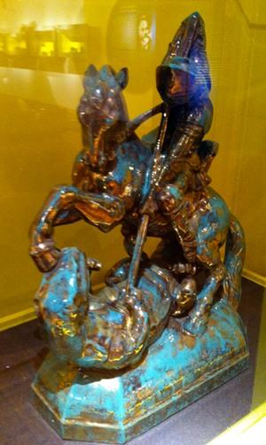 Drachentöter - Keramik Skulpur von Theodor Keerl