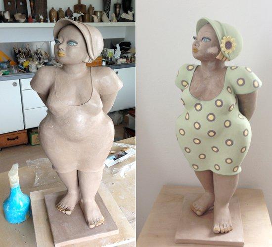 Molly - Keramikfigur mit Sonnenblume - Rohbau