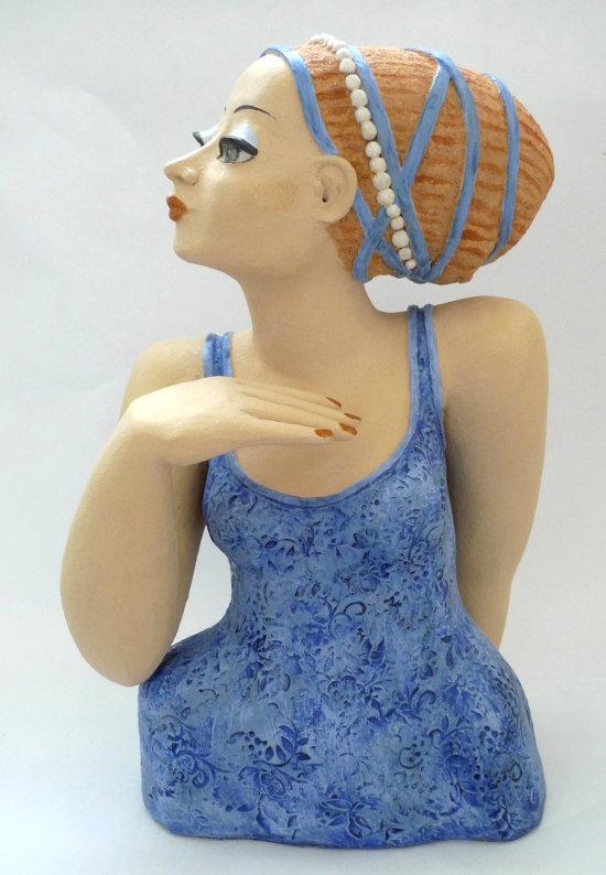 Keramikbüste Frau in Blau