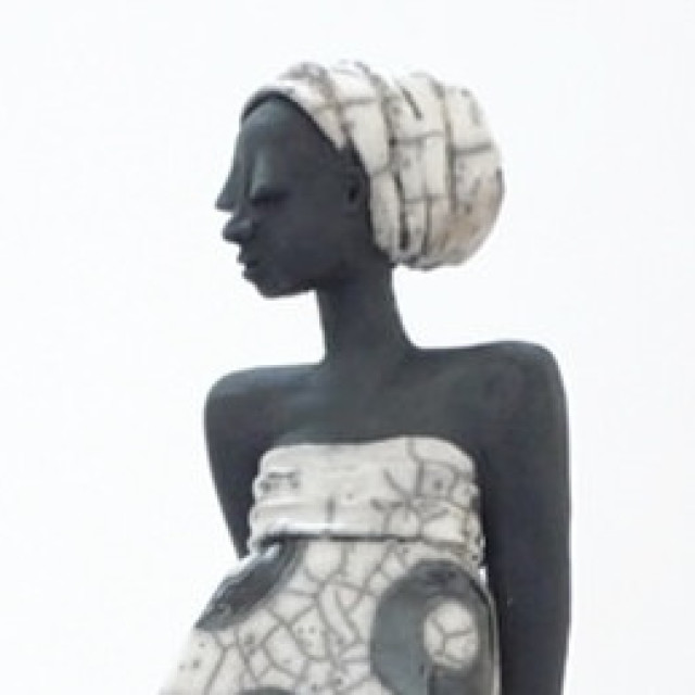 Black meets white in raku sculpture
