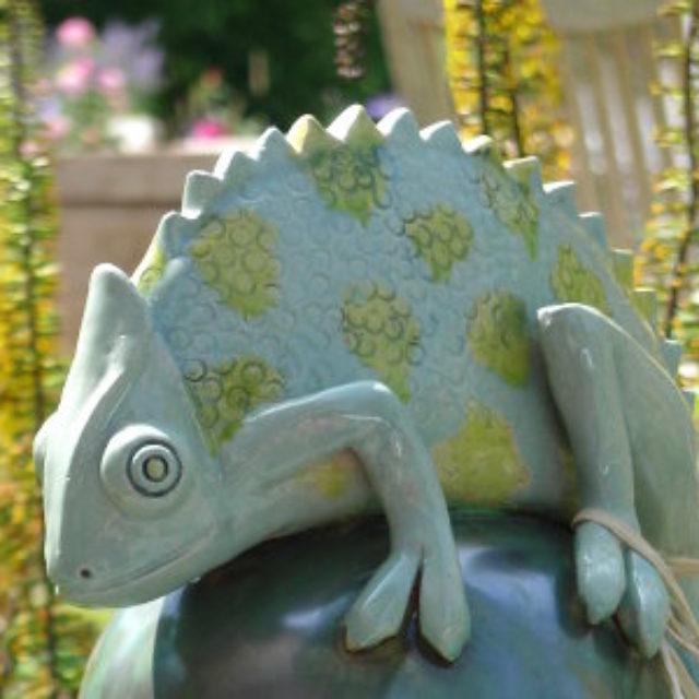Chamäleon Gartenkeramik Tierfigur