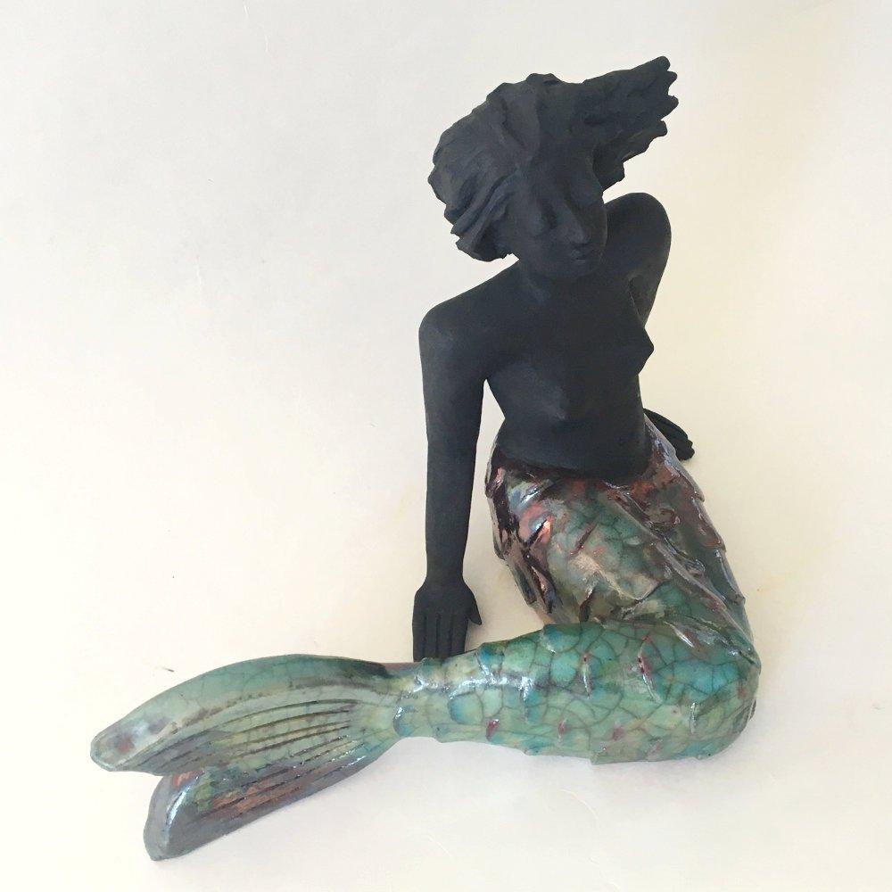 Meerjungfrau Skulptur Frau Keramik