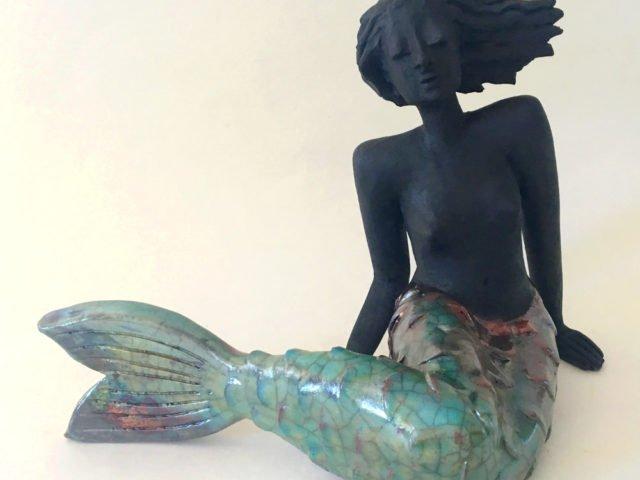 Raku Figur Meerjungfrau