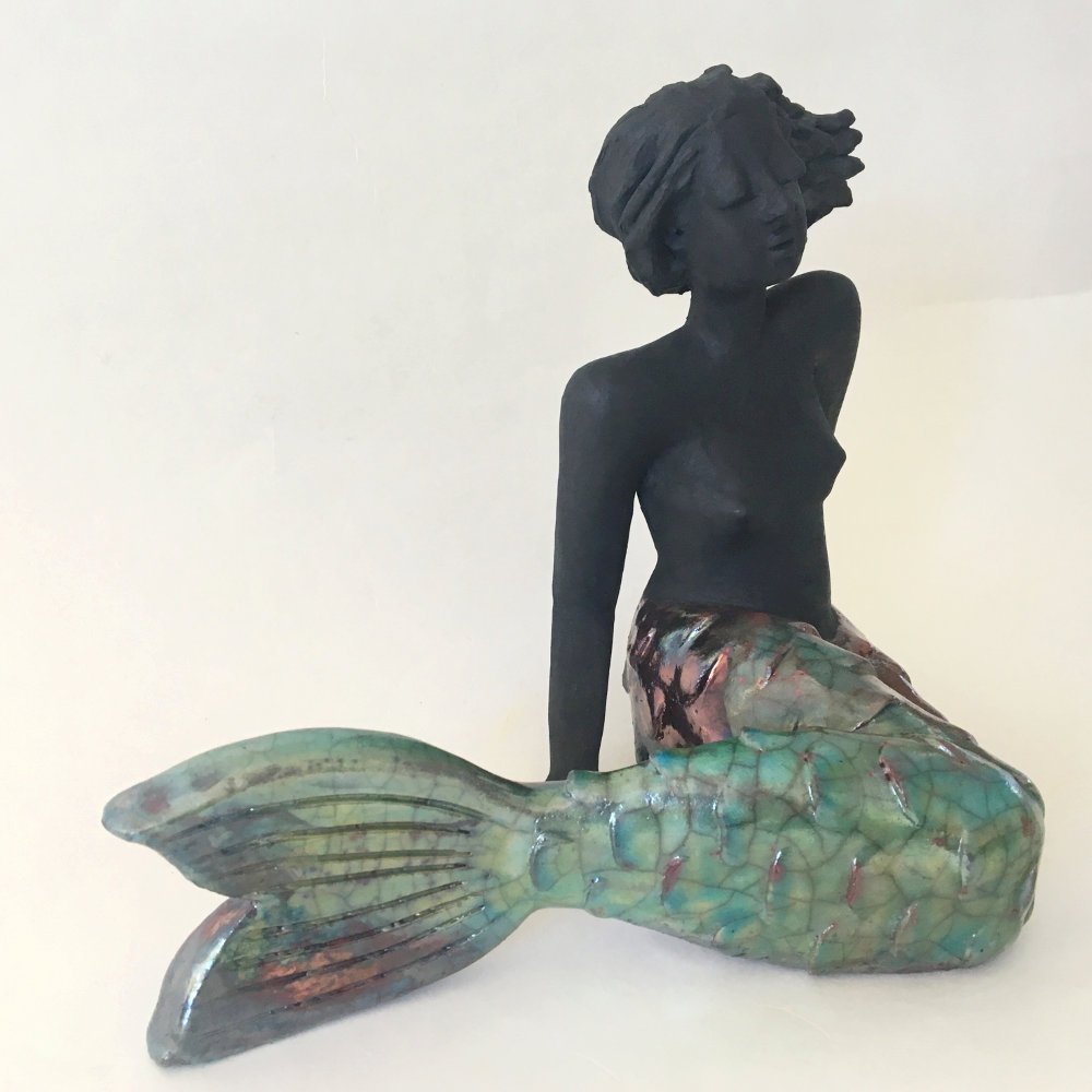 Skulptur Meerjungfrau Raku Keramik